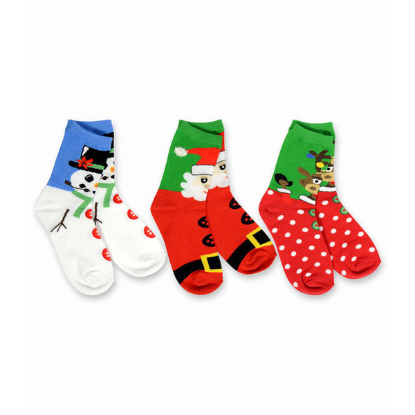 TeeHee Kid's Christmas Faces Multi-colored 3-pack Crew Socks