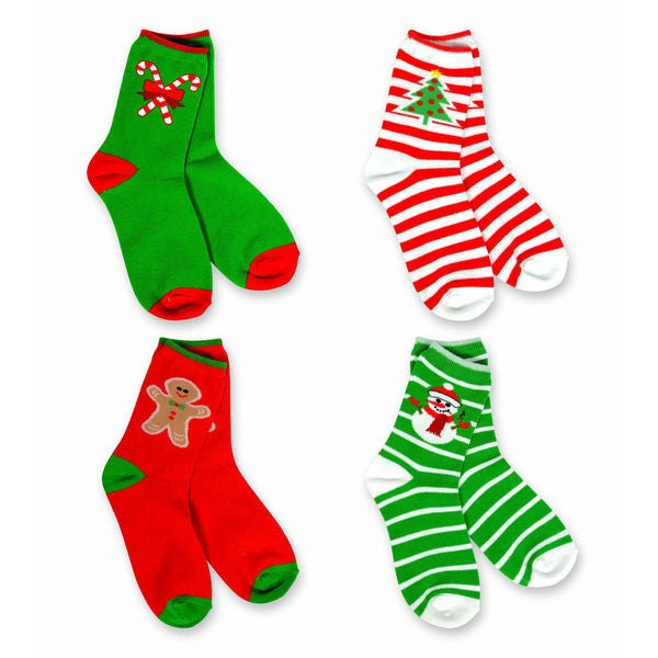 TeeHee Kid's Stripe Tree Snowman Candy Cane Multi-colored 4-pack Crew Socks