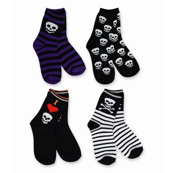 TeeHee Kid's Skull Stripe Multi-colored 4-pack Crew Socks