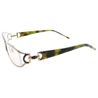 Gucci Women's GG 2852 QGU Shiny Beige Metal Rectangle Eyeglasses