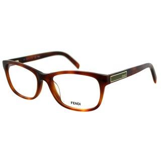 Fendi Women's FE 980 218 Red Light Havana Plastic Rectangle Eyeglasses