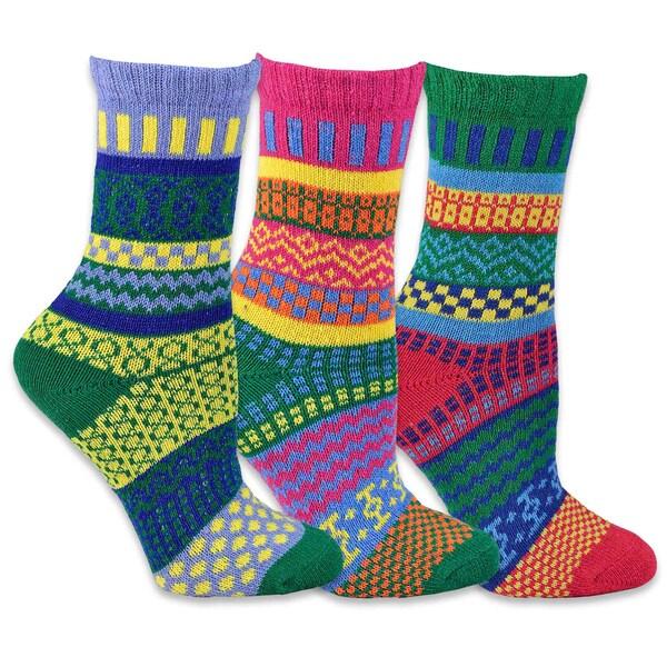 TeeHee Women's Winter Fun Crew Jacquard Socks Multi-colored Crew Jacquard Socks