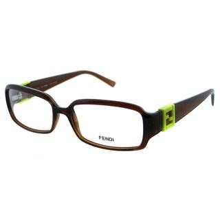 Fendi Women's FE 880 207 Dark Brown Rectangle Plastic Eyeglasses
