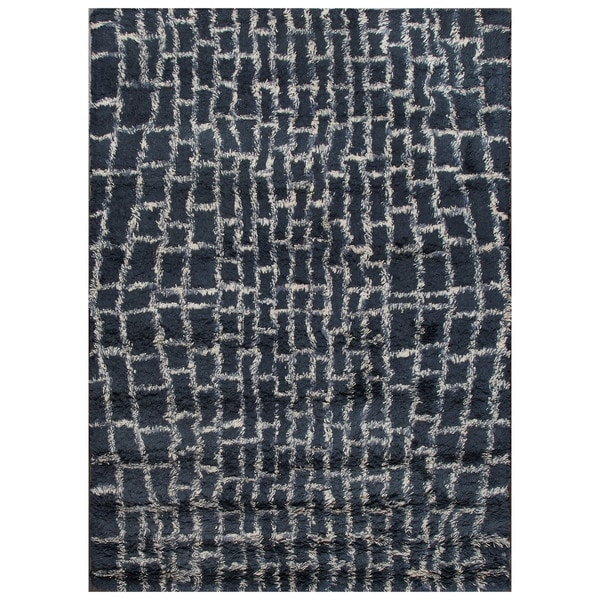 ABC Accent Moroccan Beni Ourain Midnight Blue Wool Rug (5x8)
