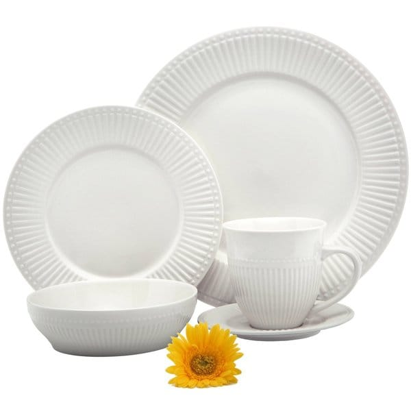 Melange 40 Piece Italian Classic White Premium Dinnerware Place Setting, Service for 8 16776147