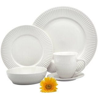 Melange 40 Piece Italian Classic White Premium Dinnerware Place Setting, Service for 8