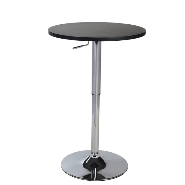 Cumar Black Adjustable Height Wood and Chrome Metal Bar Table