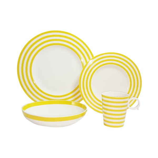 Red Vanilla Freshness Lines Yellow 4-Piece Place Setting