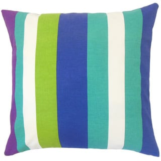 Gainell Stripes 18-inch Cotton Throw Feather and Down Filled Throw Pillow
