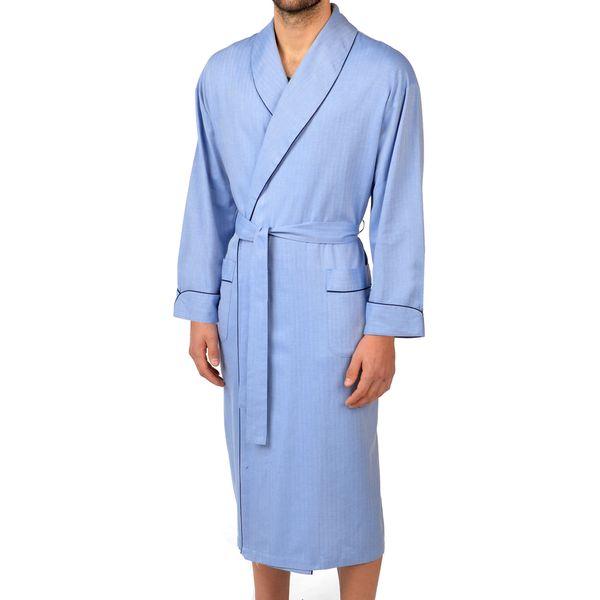Signature Herringbone Cotton Shawl Robe
