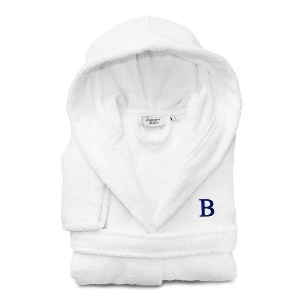 Sweet Kids White with Royal Blue Monogram Turkish Cotton Hooded Terry Bathrobe