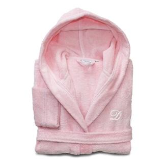 Sweet Kids Pretty Pink with White Monogram Turkish Cotton Hooded Terry Bathrobe