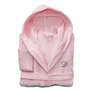 Sweet Kids Pretty Pink with Lavender Monogram Turkish Cotton Hooded Terry Bathrobe