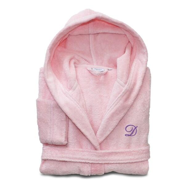 Sweet Kids Pretty Pink with Lavender Monogram Turkish Cotton Hooded Terry Bathrobe 16776812