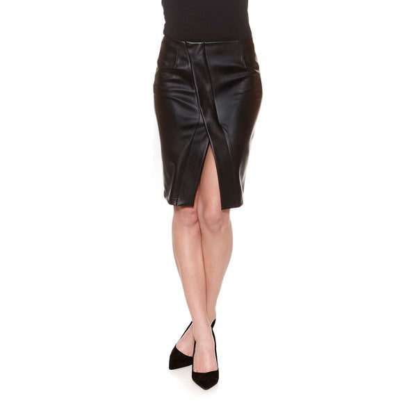 Bailey44 Women's Ricketts Black Faux Leather Pencil Skirt