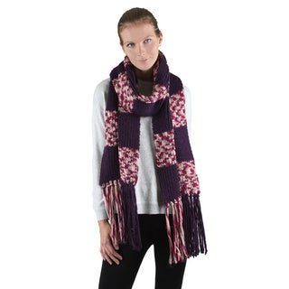 Chunky Checkered Pattern Knit Scarf