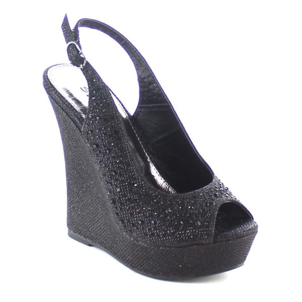 Beston BB37 Rhinestone Studded Sling Back Glitter Platform Wedges