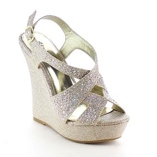 Beston BB36 Women's Rhinestone Studded Platform Wedges