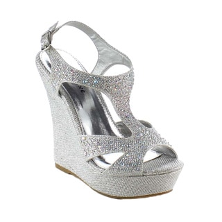 Beston BB35 Women Rhinestone Ankle Strap Wedges