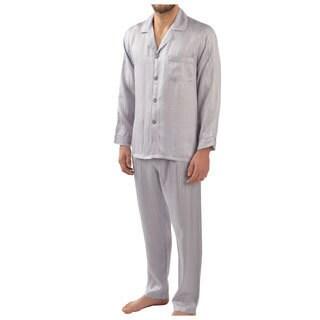 Majestic Sterling Men's Herringbone Stripe Silk 2-piece Pajama Set