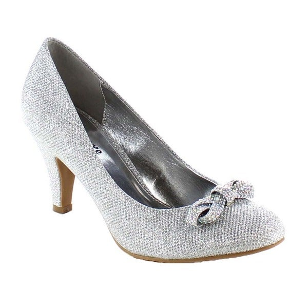 Beston BA58 Women's Low Heel Bow Accent Slip On Glitter Dress Pumps