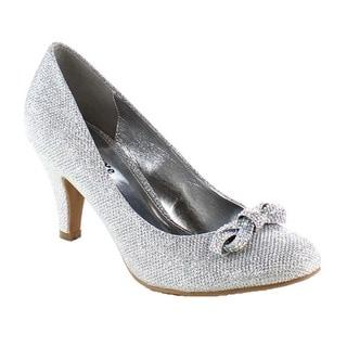 Beston BA58 Women's Low Heel Bow Accent Slip On Glitter Dress Pumps