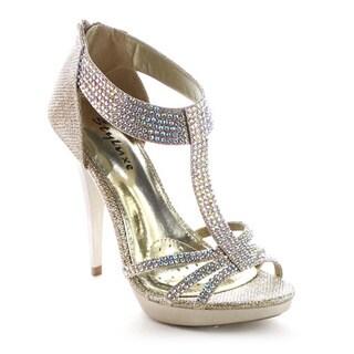 Beston BA16 Women Back Zipper Stiletto Heel Strappy Glitter Sandal
