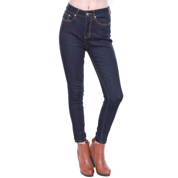 Beston Juniors' Dark Blue Highwaisted Denim Pants