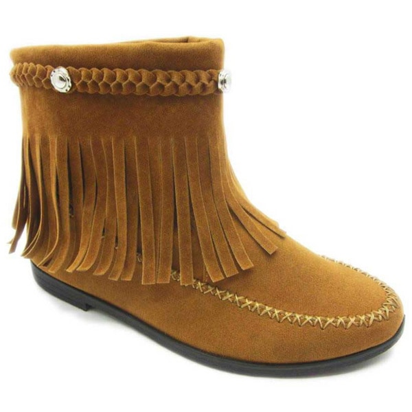 Blue Women`s 'Yallittza' Above the Ankle Fringe Booties