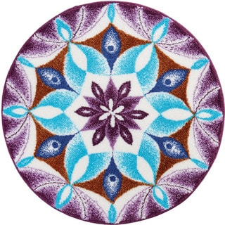 Grund Gratitude Purple Geometric Round Bath Rug