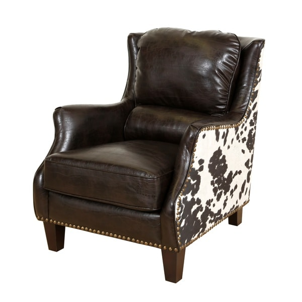 Missoni Style Print Accent Chair: Porter Wrangler Espresso And Cow Print Bonded Leather