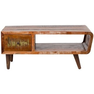 Porter Route 66 Reclaimed Wood Mid-century Modern Coffee Table with Storage Drawer (India)