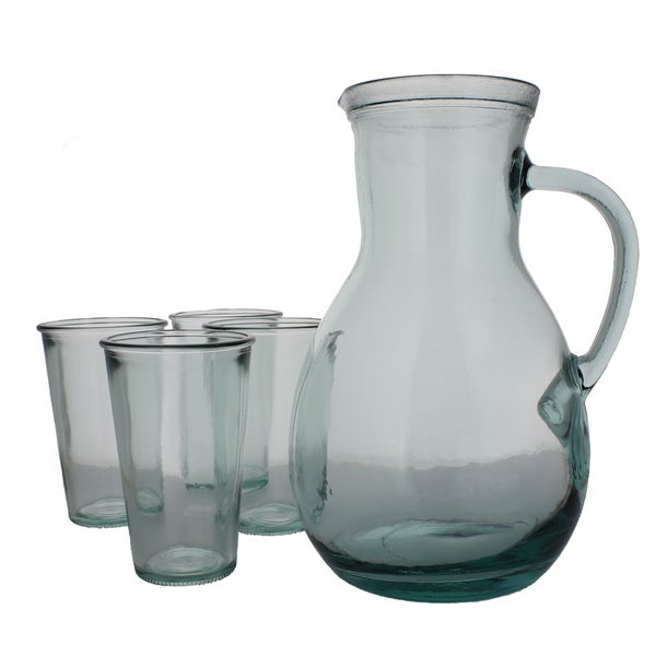 French Home Recycled Glass Pitcher and 4 Tumblers