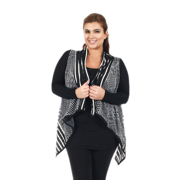 Firmiana Women's Plus Size Sleeveless Black and Grey Crochet Vest