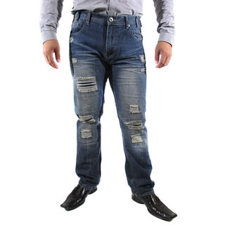 The United Freedom Men's Ripped Detail with Black Patches Slim Fit Jeans