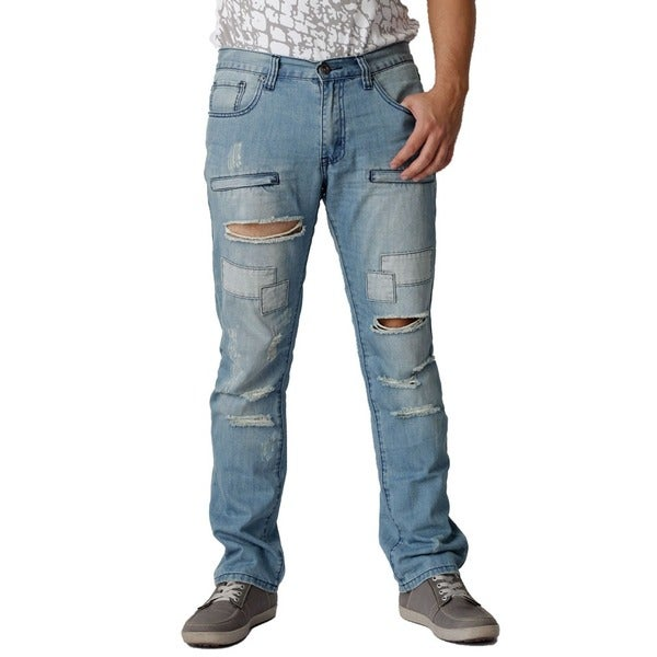 The United Freedom Men's Navy Thread Patch Pocket Slim Fit Denim