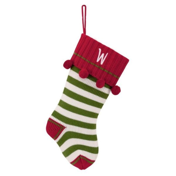 Green Striped Personalized Knit Stocking