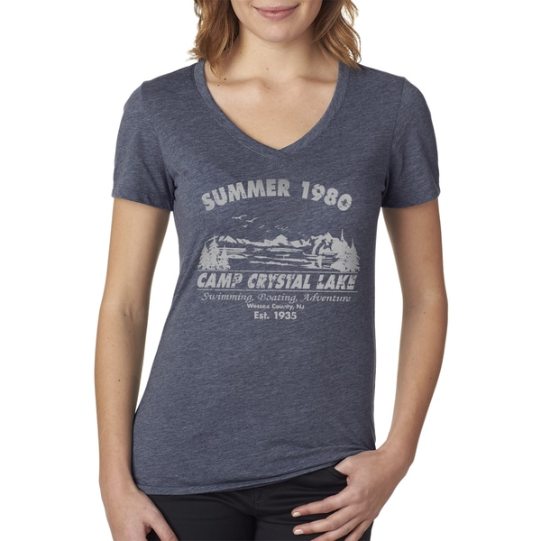 Women's Summer 1980 Camp Crystal Lake Halloween V-neck Navy Cotton T-shirt