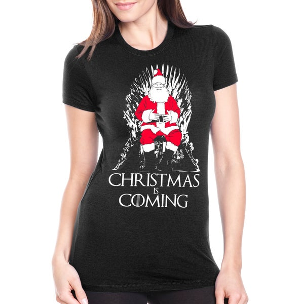 Women's Christmas Is Coming Santa on Throne Holiday Black Cotton T-shirt