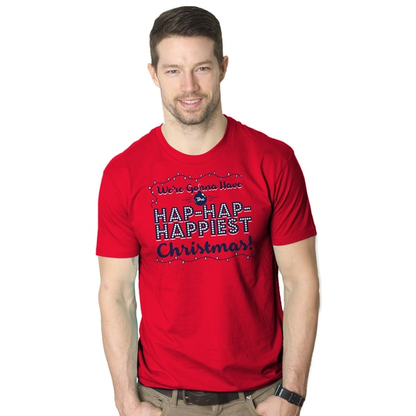 Men's Hap Hap Happiest Christmas Holiday Lights Red Cotton T-shirt