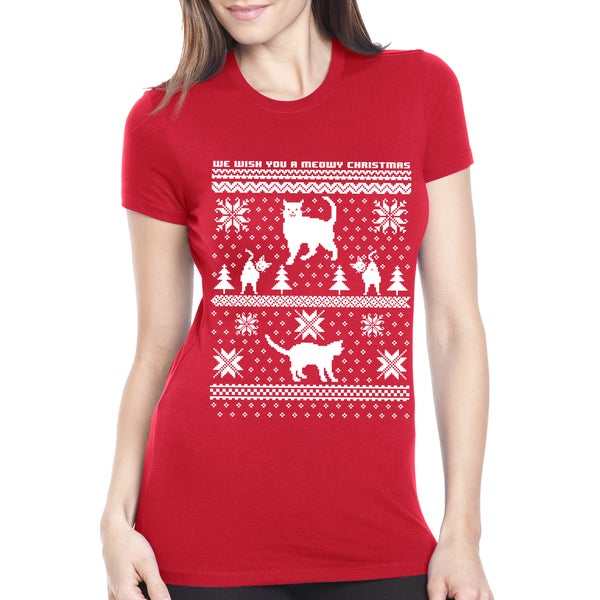 Women's 8-bit Cat Butt Christmas Ugly Sweater Red Cotton T-shirt