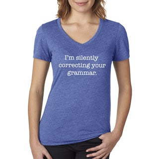 Women's Silently Correcting Your Grammar English V-neck Blue Cotton T-shirt