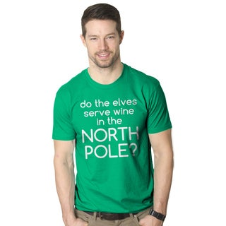 Men's Do Elves Serve Wine In The North Pole Funny Christmas Green Cotton T-shirt