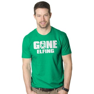 Gone Elfing Funny Christmas Green Cotton T-shirt