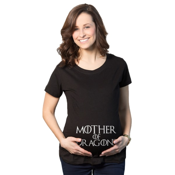 Maternity Mother of Dragons TV Show Pregnancy Black Cotton T-shirt