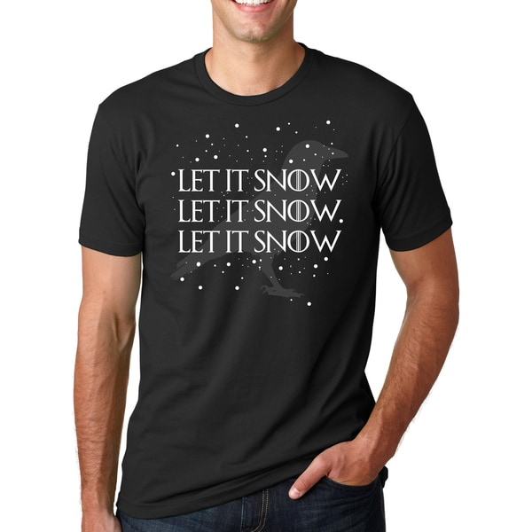 Men's Let It Snow Let It Snow Cool Holiday Crow Black Cotton T-shirt