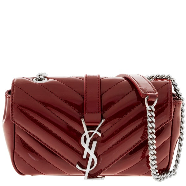 Saint Laurent V-Flap Patent Leather Mini Shoulder Chain Bag