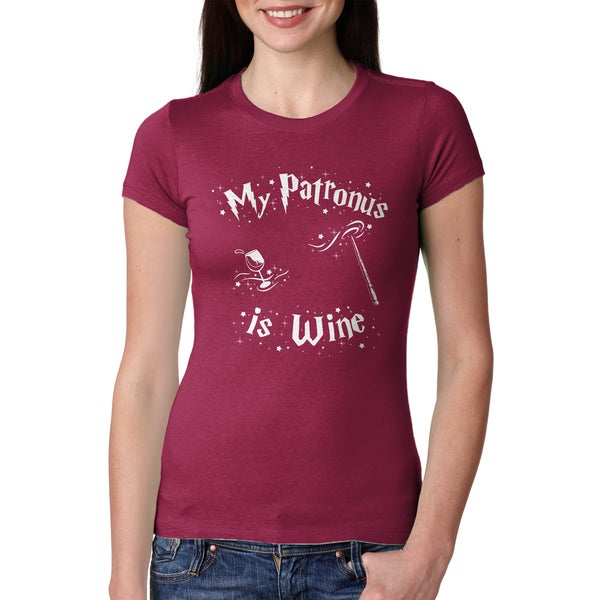Women's Patronus Wine Magical Movie Drinking Red Cotton T-shirt