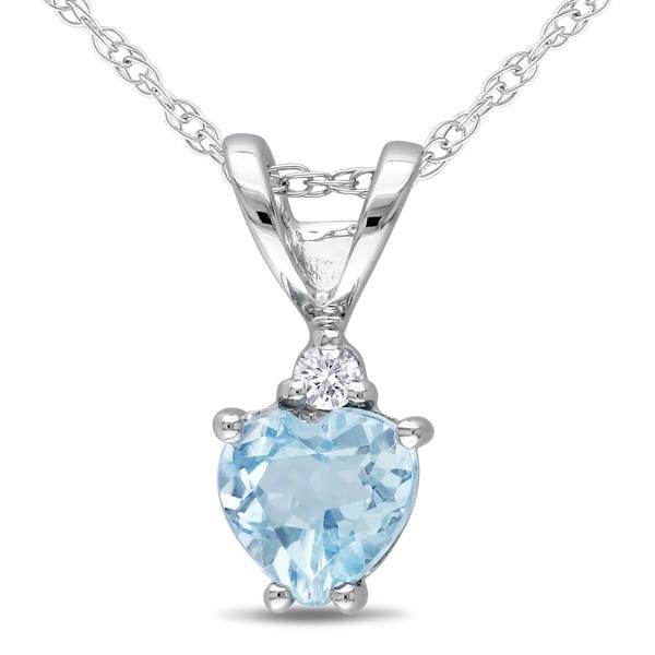 Miadora 10k White Gold Diamond Blue Topaz Pendant