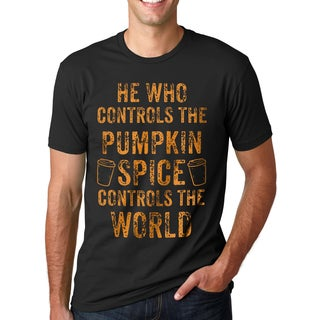 Men's Controls Pumpkin Spice Controls the World Black Cotton T-shirt